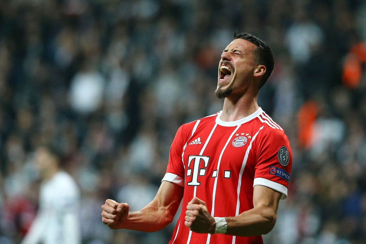 Sandro Wagner of FC Bayern Munich celebrates his goal during the UEFA Champions League Round 16 return match between Besiktas and FC Bayern Munich at Vodafone Park in Istanbul, Turkey on March 14, 2018.