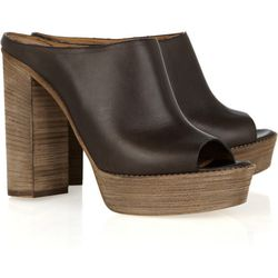 """<a href=""""http://www.theoutnet.com/product/172726"""">Chloé Leather peep-toe platform mules</a>, $139 (were $695)"""