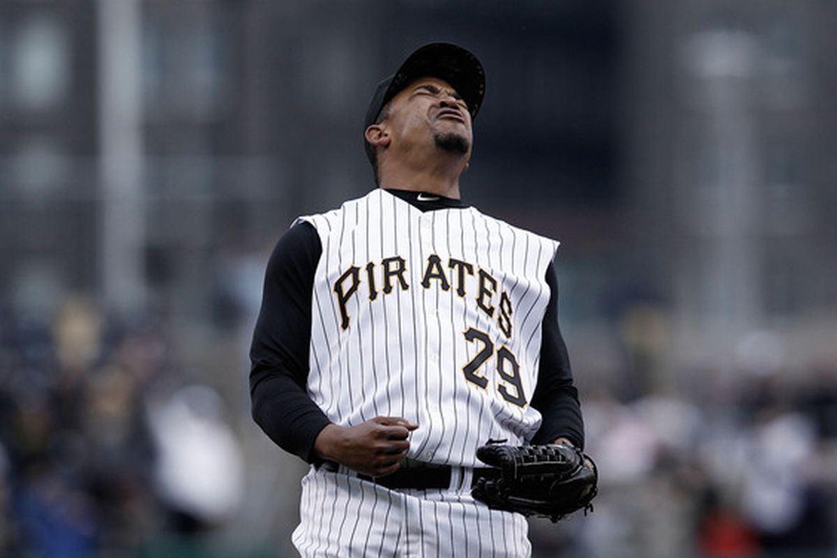 PITTSBURGH - APRIL 18:  Octavio Dotel #29 of the Pittsburgh Pirates celebrates after beating the Cincinnati Reds 5-3 on April 18, 2010 at PNC Park in Pittsburgh, Pennsylvania.  (Photo by Jared Wickerham/Getty Images)