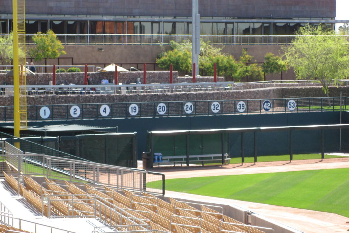 All 10 Dodgers retired numbers are now on display beyond the left field bullpen at Camelback Ranch.