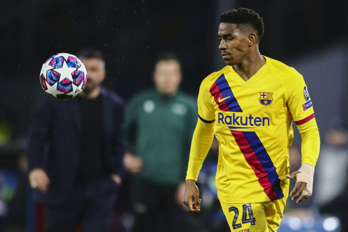 Barcelona's french defender Junior Firpo controls the ball...