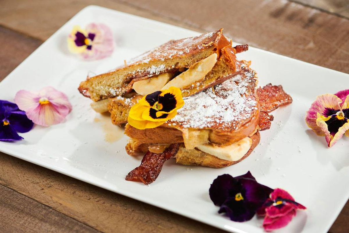 Peanut butter, banana, and bacon sandwich