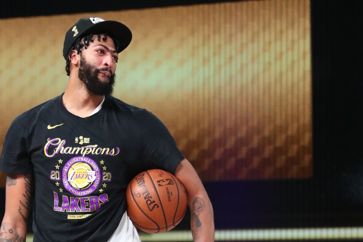 Anthony Davis of the Los Angeles Lakers smiles during the trophy ceremony during Game Six of the NBA Finals on October 11, 2020 at AdventHealth Arena in Orlando, Florida.