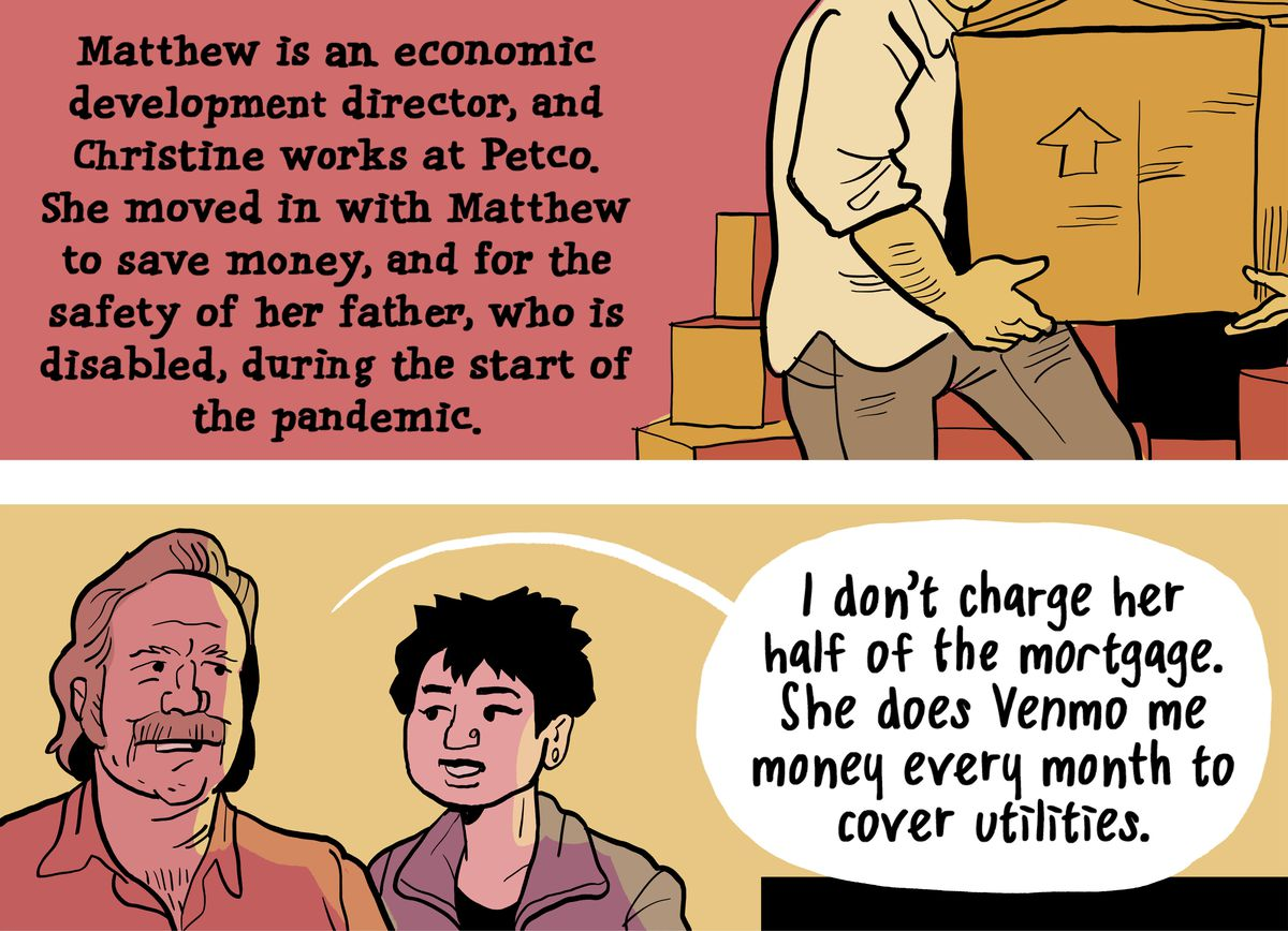 """Matthew is an economic development director, and Christine works at Petco. She moved in with Matthew to save money, and for the safety of her father, who is disabled, during the start of the pandemic. Matthew: """"I don't charge her half of the mortgage. She does Venmo me money every month to cover utilities."""""""