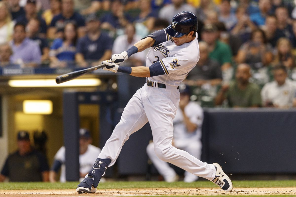 Milwaukee Brewers right fielder Christian Yelich hits a double during the first inning against the Houston Astros at Miller Park.