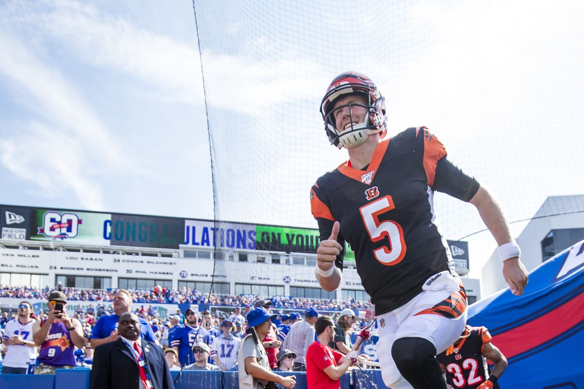 Ryan Finley of the Cincinnati Bengals runs onto the field before the game against the Buffalo Bills at New Era Field on September 22, 2019 in Orchard Park, New York.