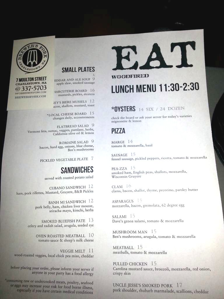 Brewers Fork lunch menu