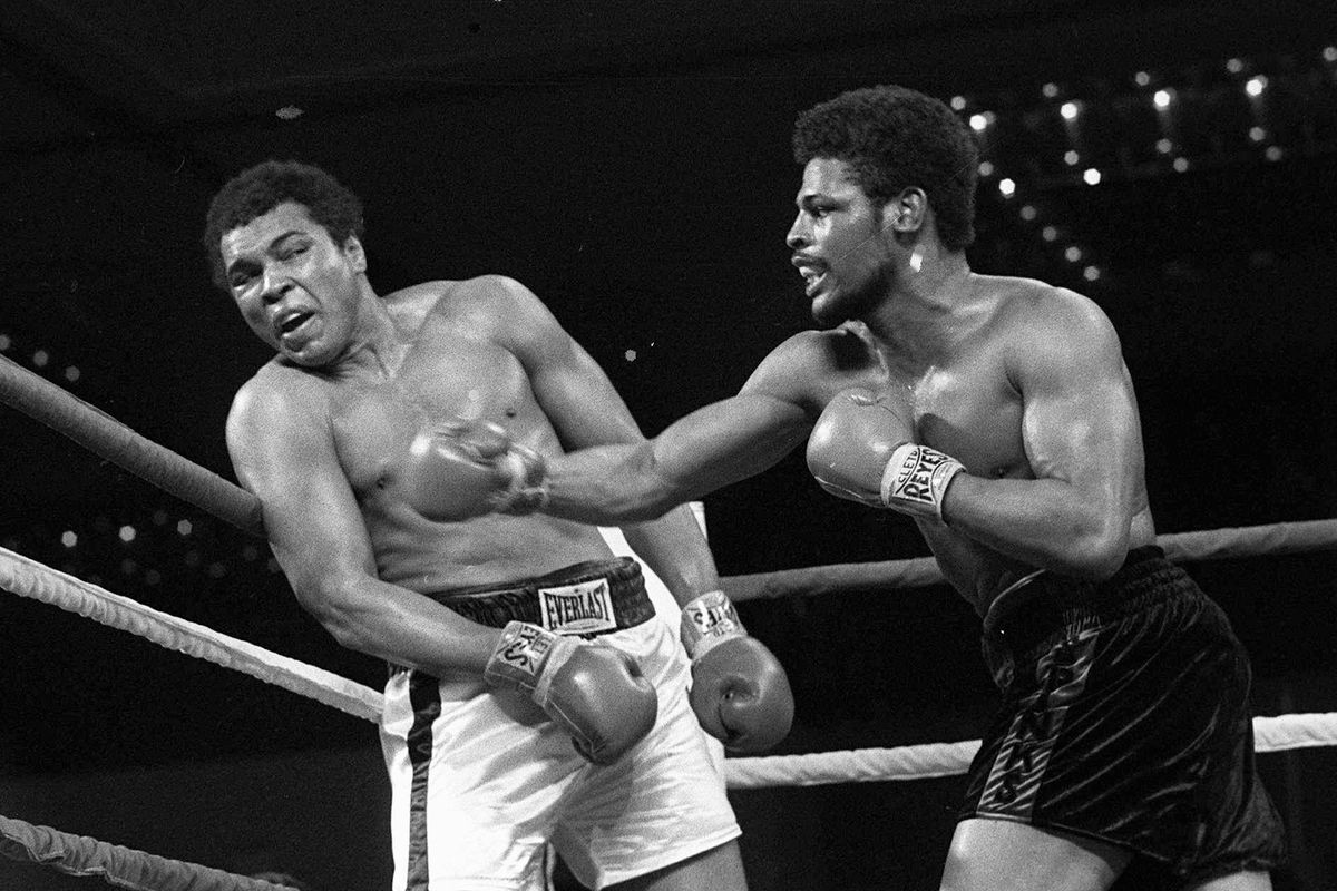 In this Feb. 15, 1978, file photo, Leon Spinks, right, connects with a right hook to Muhammad Ali, during the late rounds of their championship fight in Las Vegas. Former heavyweight champion Leon Spinks Jr. died Friday night, Feb. 5, 2021, after battling prostate and other cancers. He was 67.