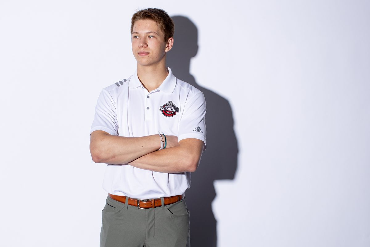 BUFFALO, NY - MAY 29: Matthew Boldy poses for a portrait at the 2019 NHL Scouting Combine on May 29, 2019 at the HarborCenter in Buffalo, New York.