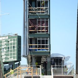 2:10 p.m. The south face of the right-field video board -