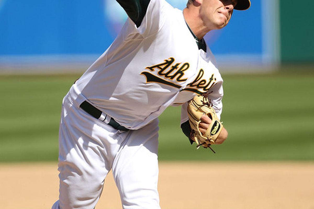 Andrew Bailey pitches against the Seattle Mariners on April 8, 2010 in Oakland, California. He was traded from the Oakland Athletics to the Boston Red Sox on December 28th, 2011  (Photo by Jed Jacobsohn/Getty Images)