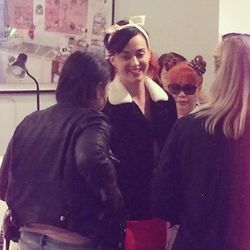 """Katy Perry stopped by the last hour of the convention to get a Hello Kitty tattoo on her finger. That's Hello Kitty designer Yko Yamaguchi behind her in the sunnies! <i>[Photo by Thania Peck of <a href=""""http://catcherinthestyle.com/"""">Catcher in the Style<"""
