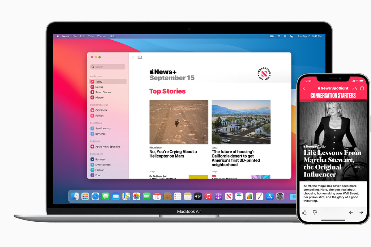 Apple News on a MacBook and iPhone