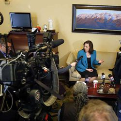 House Speaker Becky Lockhart, R-Provo, answers questions during a press availability in her office at the Utah Capitol in Salt Lake City, Monday, Jan. 27, 2014.