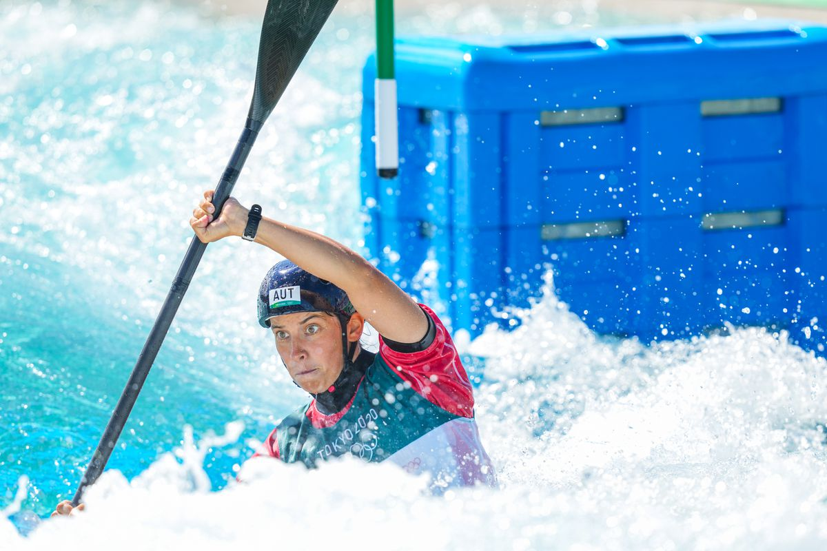 Viktoria Wolffhardt of Team Austria competes on Women's Kayak Semi-final during the Tokyo 2020 Olympic Games at the Kasai Canoe Slalom Centre on July 27, 2021 in Tokyo, Japan