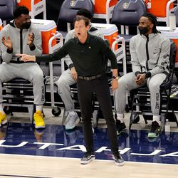Utah Head Coach Quin Snyder, calls out as the Utah Jazz and the Memphis Grizzlies play in game one of their NBA playoff series at Vivint Arena in Salt Lake City on Sunday, May 23, 2021.