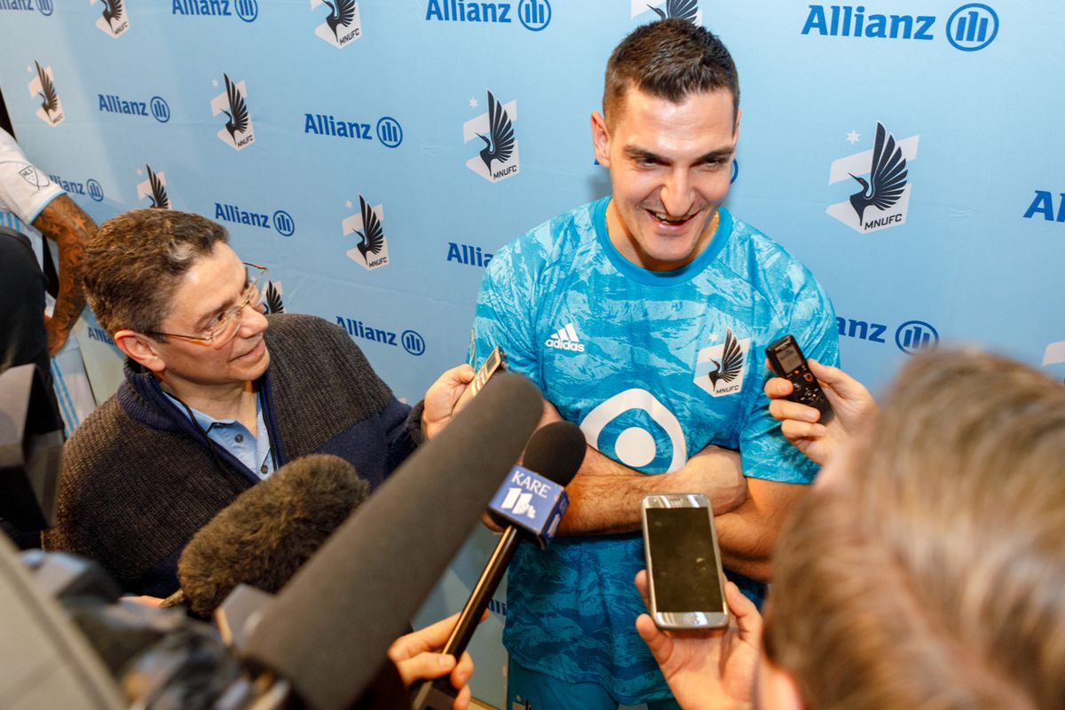 February 10, 2019 - Bloomington, Minnesota, United States - Newly signed Minnesota United goalkeeper Vito Mannone takes questions from the media at the Minnesota United 2019 kit reveal at the Mall Of America.   (Photo by Seth Steffenhagen/Steffenhagen Photography)