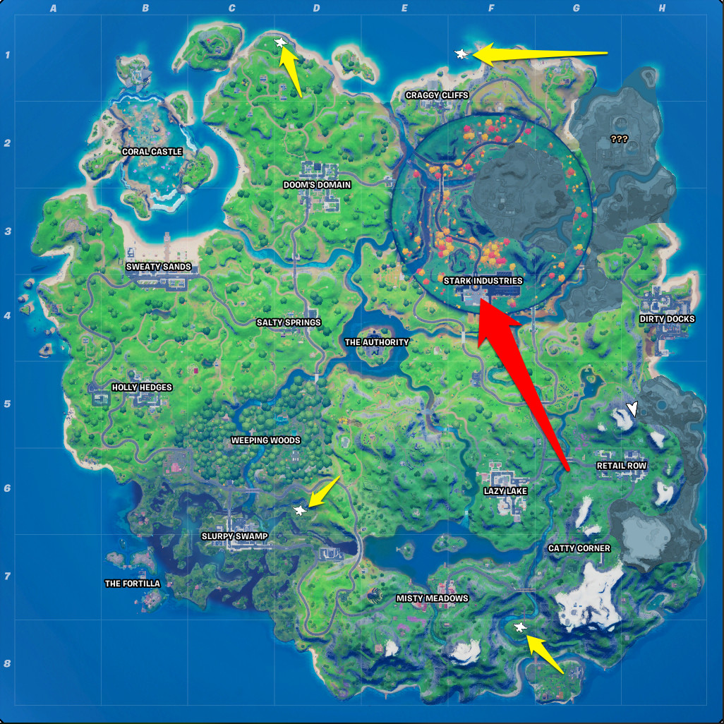The location of Stark Industries and the random Quinjets in Fortnite