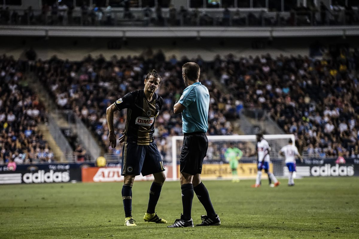 Tranquillo Barnetta argues a call with Mark Geiger during the Philadelphia Union's match against Toronto FC.