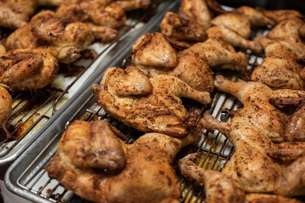 Mt. Taal crispy seasoned smoked and roasted chickens at the Park's Finest Barbecue.