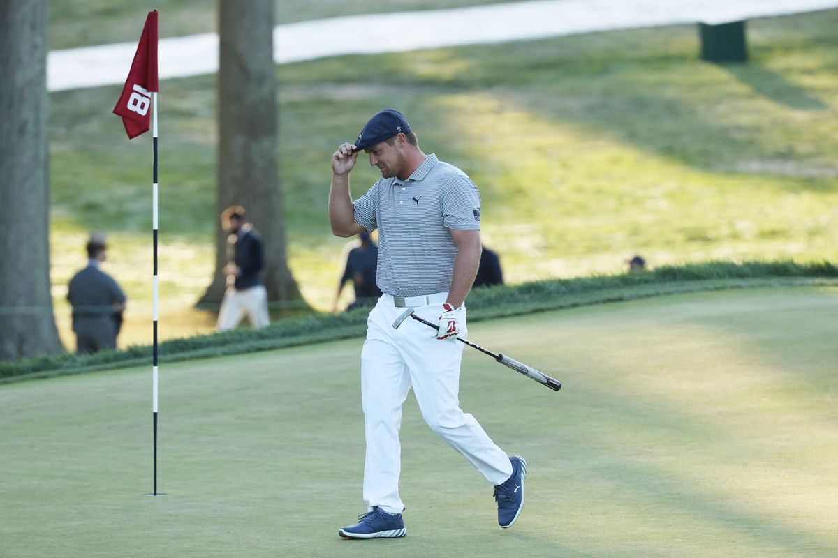 Bryson DeChambeau of the United States tips his cap on the 18th green during the final round of the 120th U.S. Open Championship on September 20, 2020 at Winged Foot Golf Club in Mamaroneck, New York.