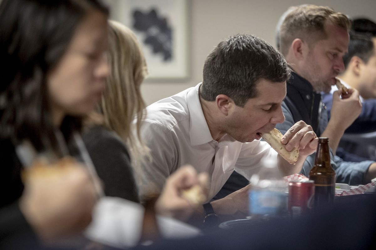 Buttigieg eating a taco.