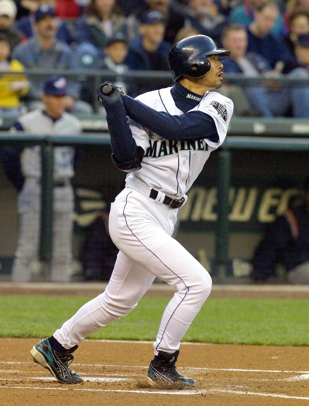 Seattle Mariner Ichiro Suzuki extends his hitting