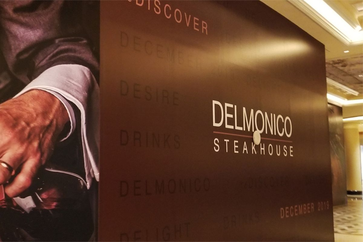 Plywood outside of celebrity chef Emeril Lagasse's Delmonico Steakhouse, reopening soon at the Venetian.