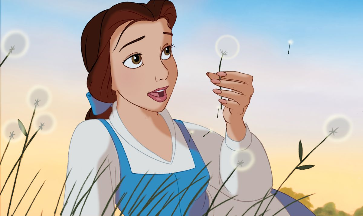 belle sits in a field, blowing a dandelion, and dreaming of adventure in the GREAT WIDE OPEN