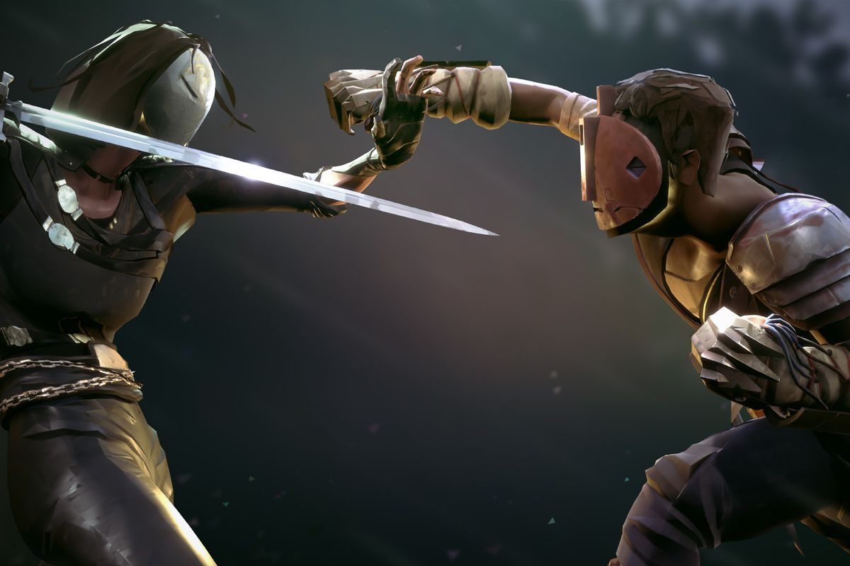 This key art for Absolver shows two masked figures fighting. One is punching with a gloved hand, while the other is plunging a sword forward.