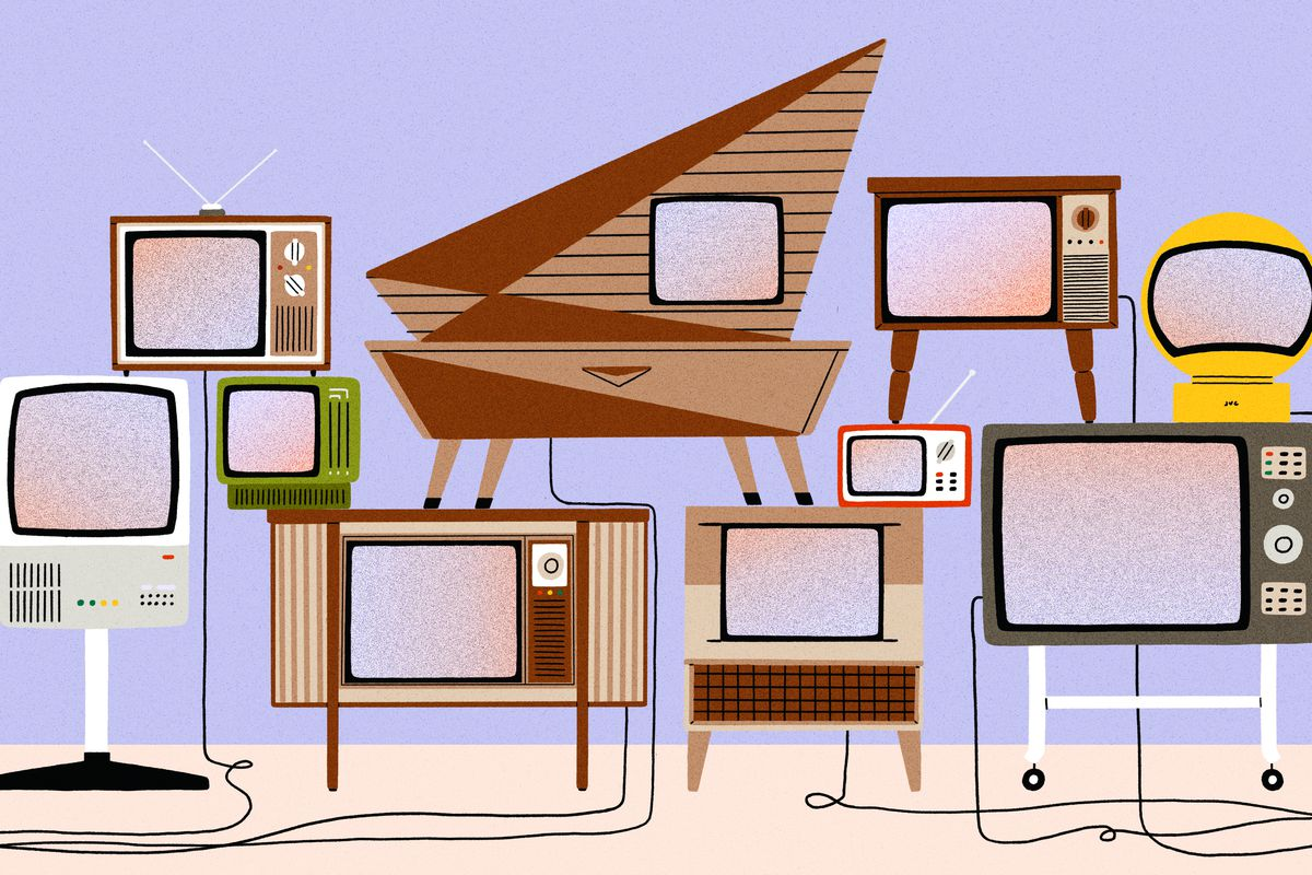 A collection of ten television sets, of various shapes and sizes, all from different eras of design. Illustration.