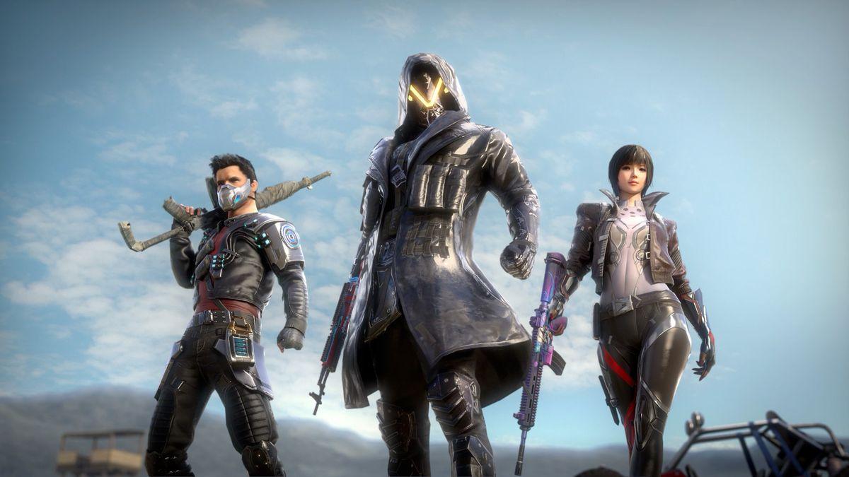 Three PUBG characters strike hero poses