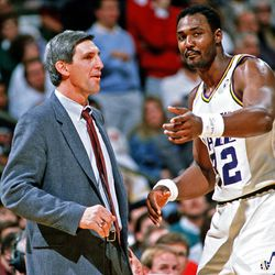 : Utah Jazz coach Jerry Sloan with Karl Malone, Nov. 1989, in Salt Lake City, Utah.  Tom Smart, Deseret News