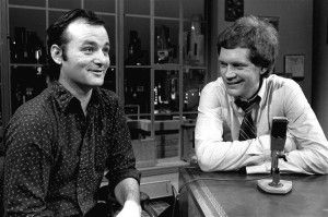 """In this Feb. 1, 1982 file photo, host David Letterman, right, and guest Bill Murray appear at the taping of the debut of """"Late Night with David Letterman"""" in New York. 