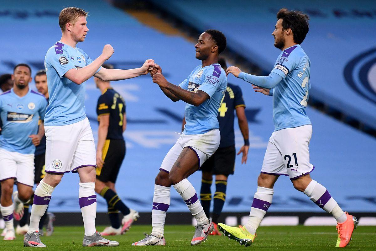 Kevin De Bruyne, Raheem Sterling and David Silva - Manchester City - Premier League