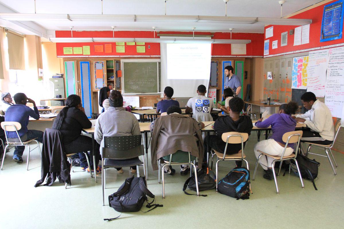 Neil Garguilo teaches his 10th-grade math class at Brooklyn Generation School.