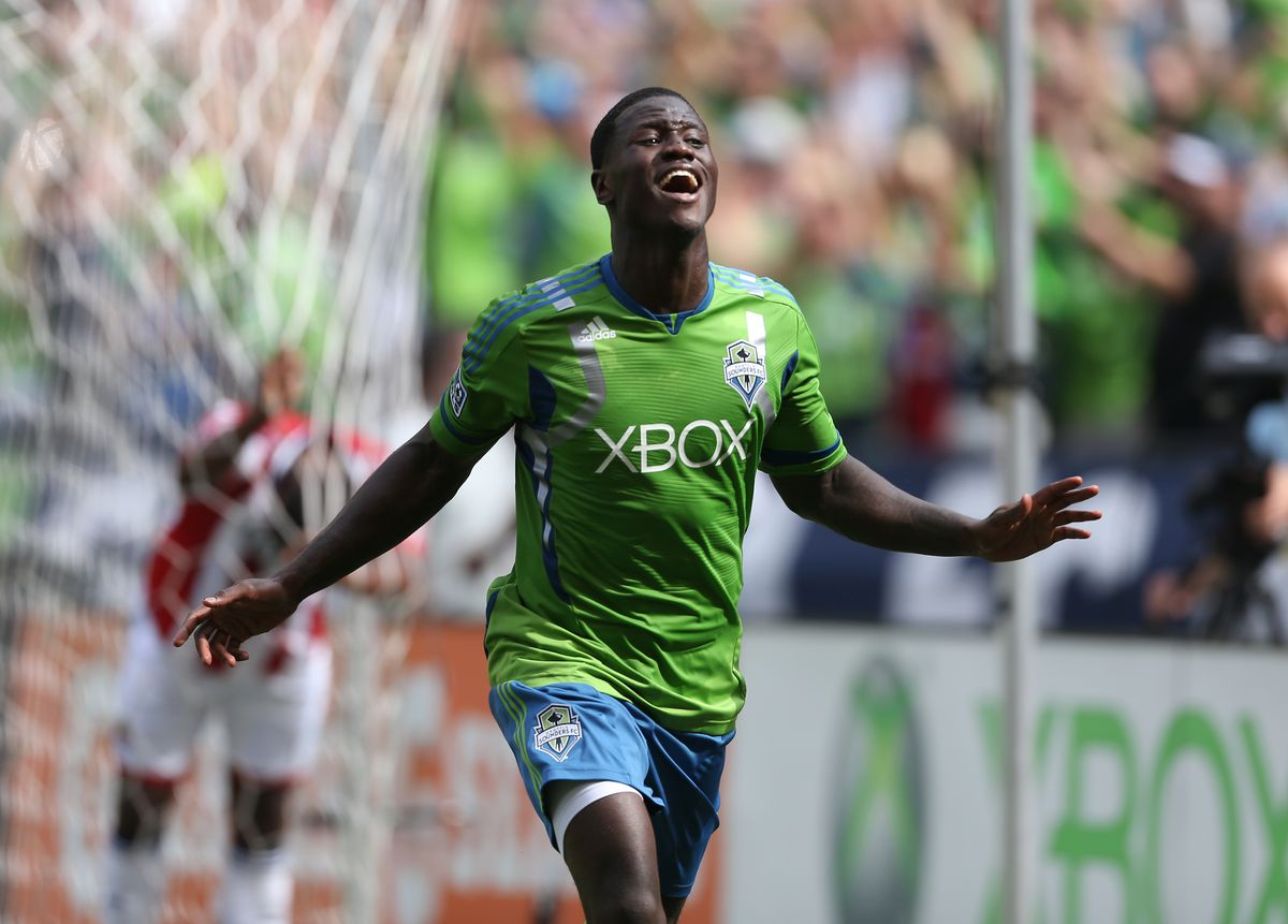 Eddie Johnson reacts to his game-winning goal in the Seattle Sounders 2-1 victory over Chivas USA on Saturday.