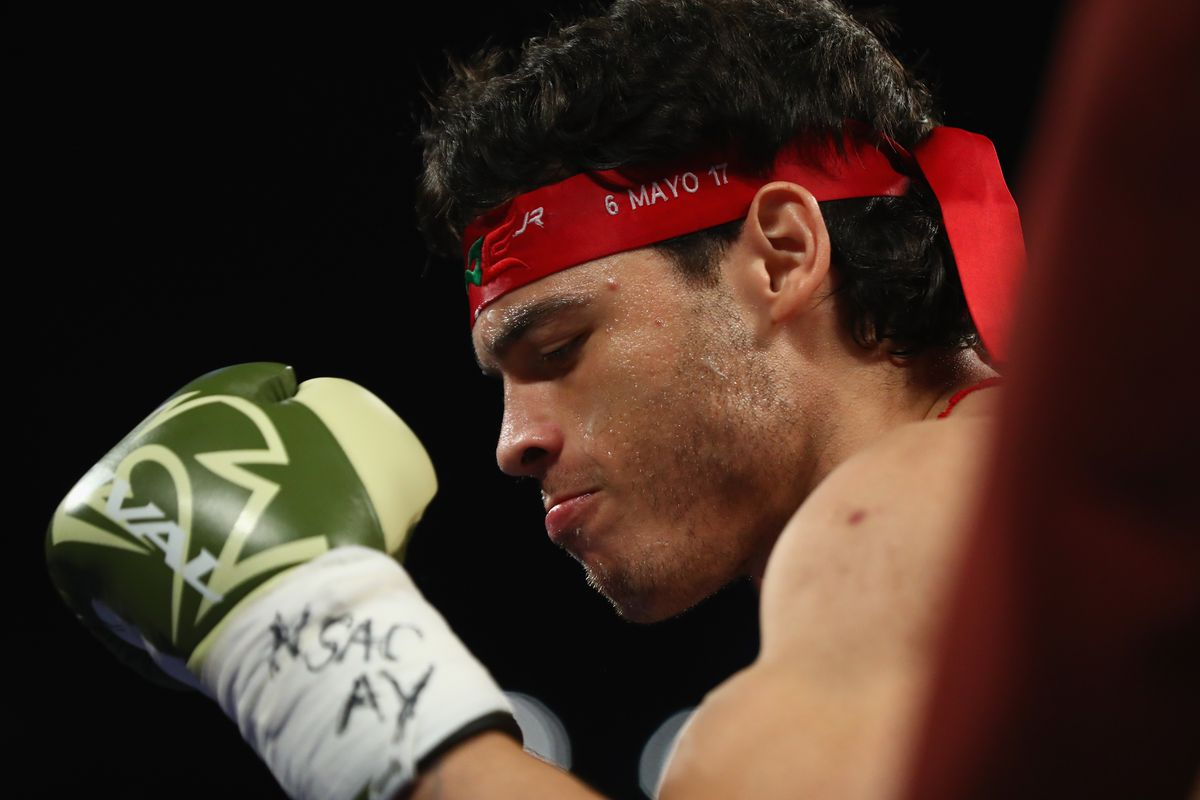 Julio Cesar Chavez Jr. stands in his corner before facing Canelo Alvarez during their catchweight bout at T-Mobile Arena on May 6, 2017 in Las Vegas, Nevada.