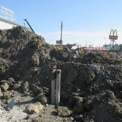 Another view of the excavation work on the Waveland side of the triangle lot -