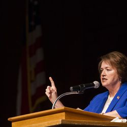 State Sen. Margaret Dayton gives a speech to campaign for the votes of Republican delegates during the GOP convention at Timpview High School in Provo on Saturday, June 17, 2017.