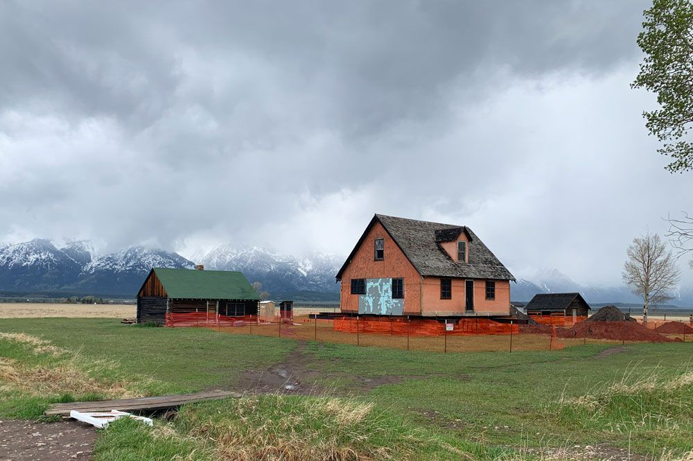 The Pink House in the Mormon Historic District of Grand Teton National Park is undergoing preservation work.