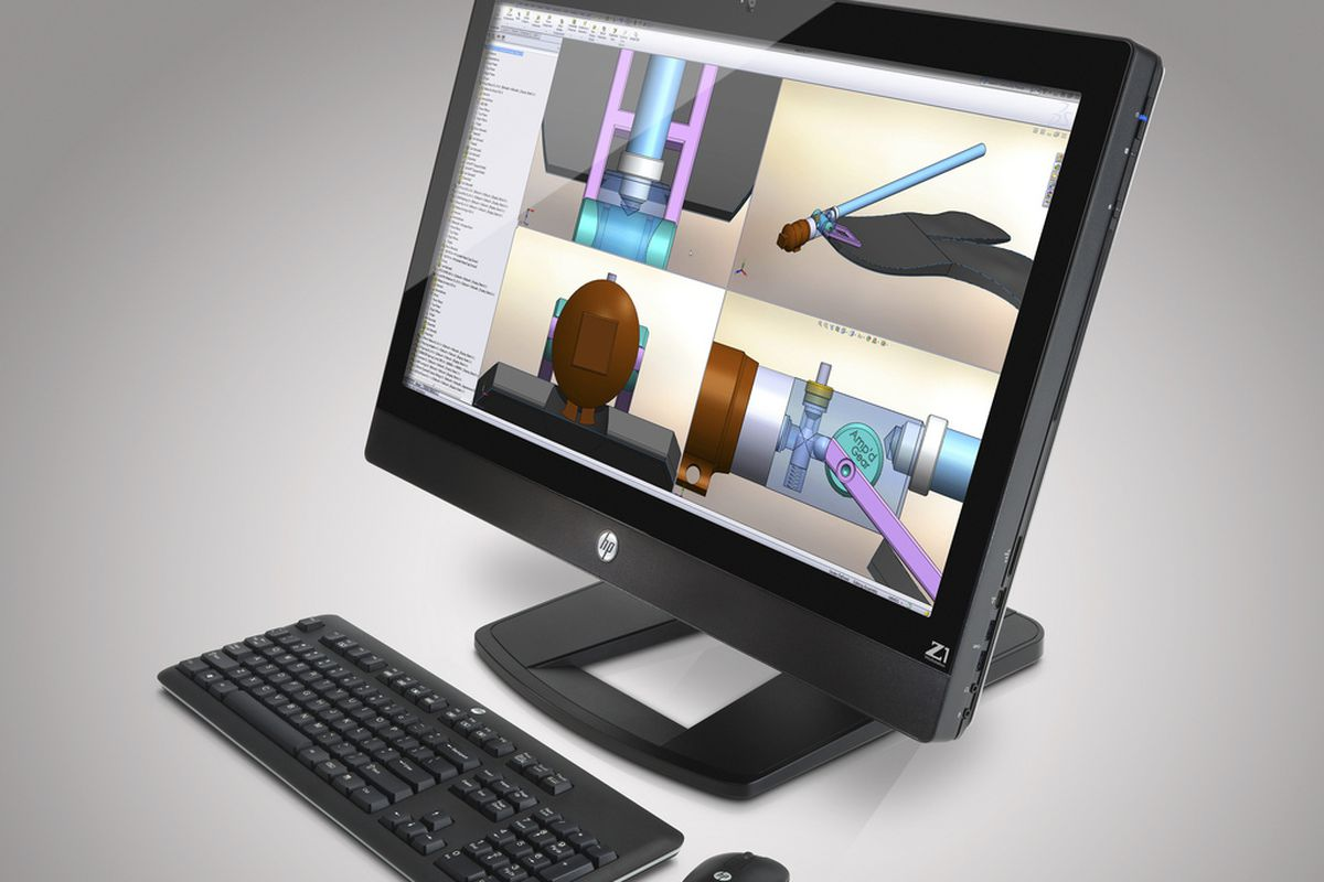 HP Z1 Workstation AIO has a 27-inch flip-up screen, lets you easily
