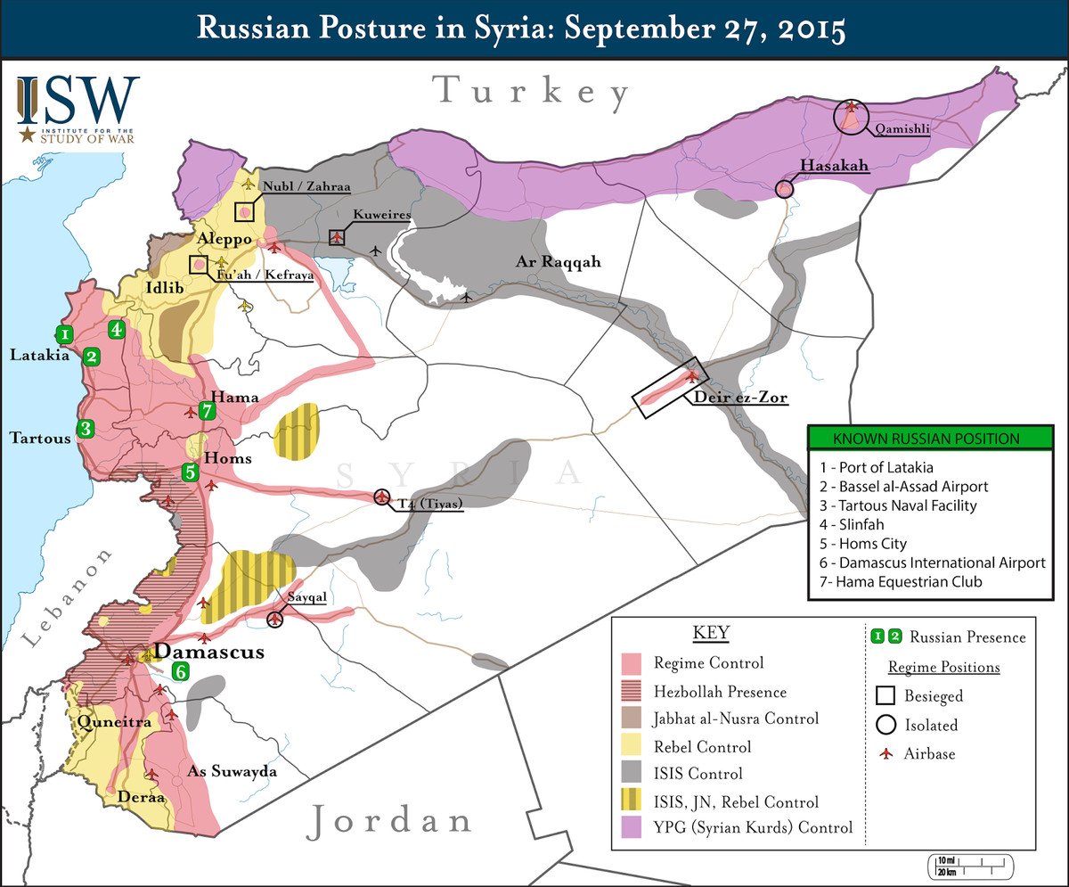 Russian military positions in Syria's civil war (Institute for the Study of War) http://www.iswresearch.blogspot.com/2015/09/russias-first-reported-air-strikes-in.html