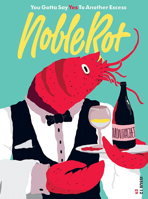 A cartoon magazine cover depicting a crustacean holding a bottle of Montrachet wine