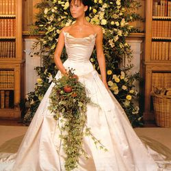 A nearly-unrecognizable Victoria Beckham — neé Victoria Adams — married David Beckham on July 4th, 1999 in a tiara and Vera Wang gown.