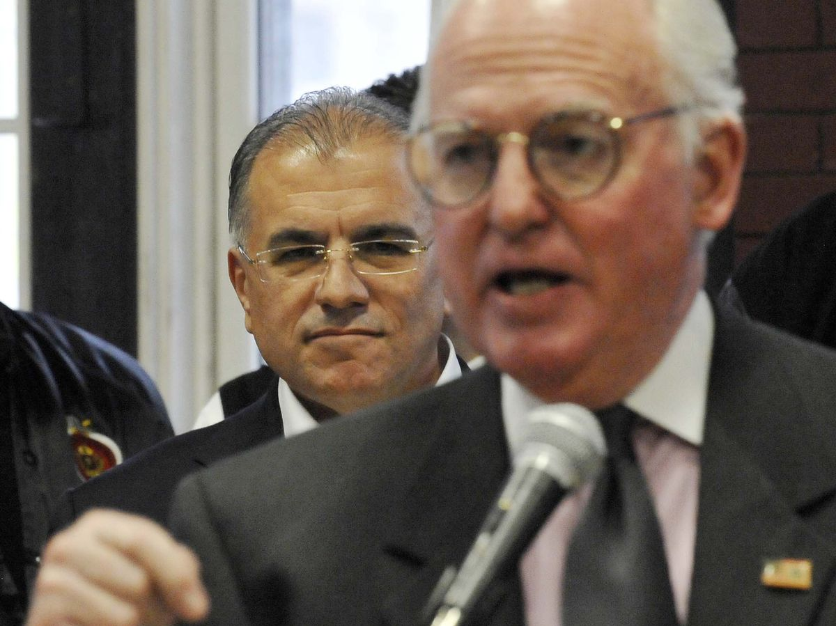 Ald. Edward Burke also backed Gery Chico during his 2011 mayoral campaign – and has endorsed Chico's candidacy again. Burke is shown here speaking at a press conference that year announcing a get-out-the-vote rally. l Keith Hale~Sun-Times