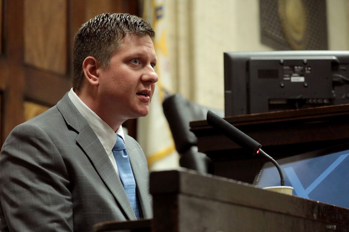 Chicago police officer Jason Van Dyke testifies about the McDonald shooting on October 2, 2018. Van Dyke was found guilty of second-degree murder on Friday.