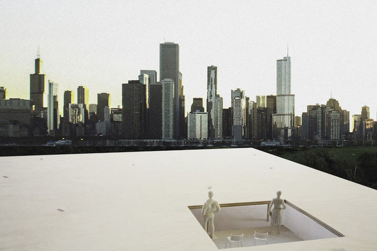 The winning entry by Rhode Island-based team Ultramoderne, <b>Chicago Horizon</b>, features a large, flat roof of cross-laminated timber that will house an architectural lending library and shelter in the city's Millennium Park.