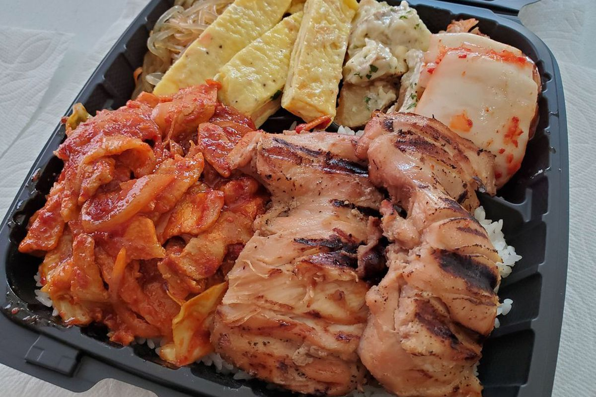 Barbecue chicken, spicy pork belly and rolled omelette, at theHippo Grill Korean BBQ take-out restaurant.