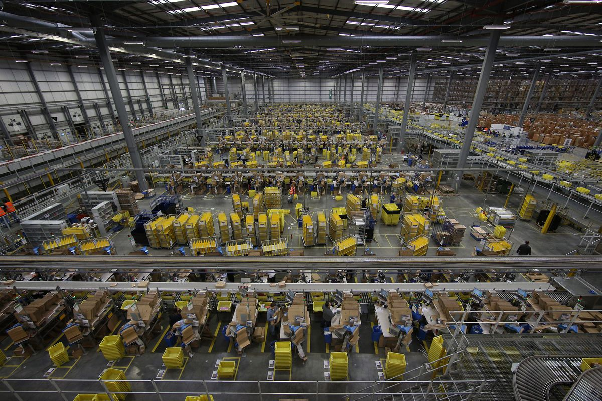 An Amazon warehouse and fulfillment facility.